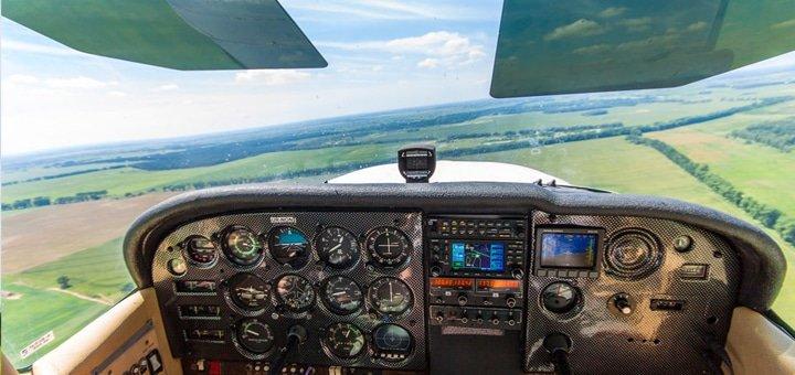 Скидка до 50% на ознакомительный полет с возможностью пилотирования на самолете CESSNA 172 от Киевской Авиационной школы