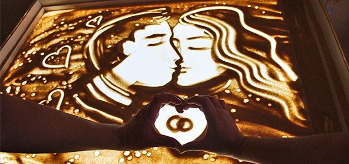 Романтический мастер-класс по песочной анимации для пары в творческой студии «ArtiShock»