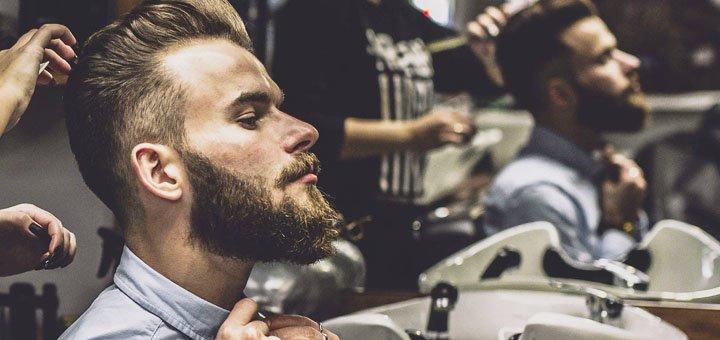 Мужская стрижка, укладка и коррекция бороды от барбершопа «KingsMan»