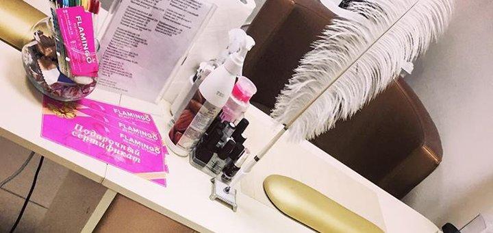 Маникюр и педикюр с покрытием в салоне красоты «Flamingo»