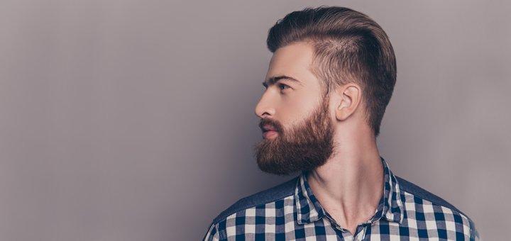 Мужская стрижка с массажем головы, укладкой и оформлением бороды и усов в салоне «SJ&Team»