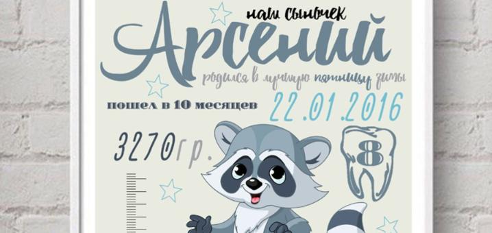 Оформление именной метрики-постера от компании «Карапульки»