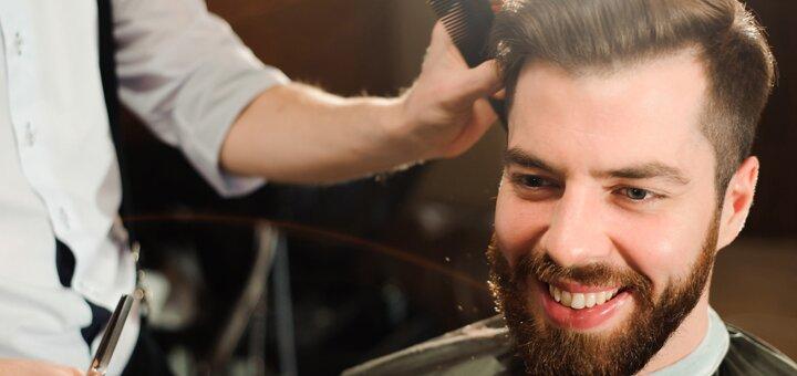 Мужская стрижка с укладкой и коррекцией бороды в barber room «Barbados»
