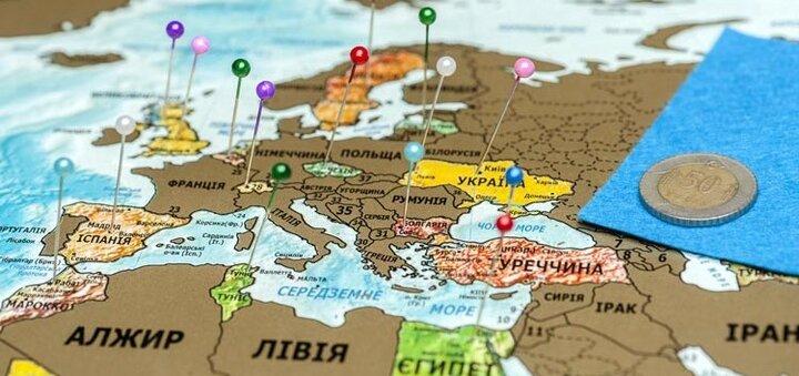 Подарок скретч-карта мира, при покупке тура!