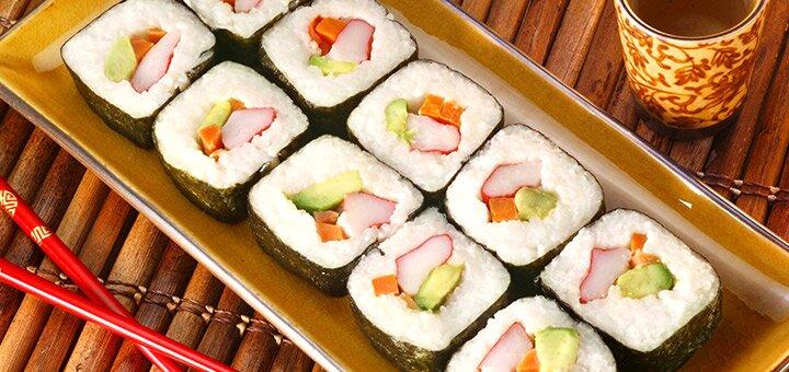 Скидка 50% на меню кухни, суши, пиццу и лапшу с доставкой или на вынос в ресторане «Банзай»