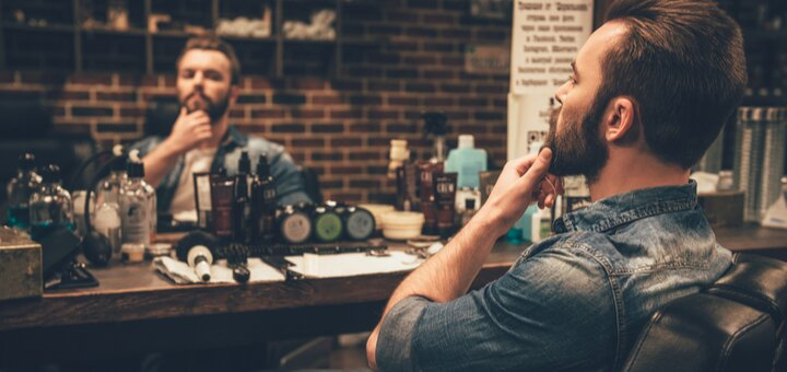 Мужская стрижка, стрижка бороды в барбершопе «Аутентично»