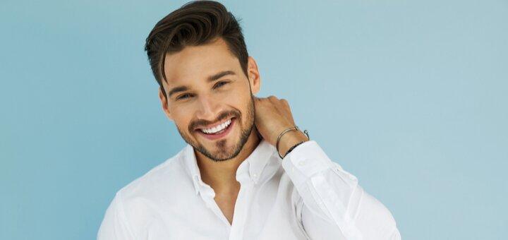 Мужская стрижка и укладка, коррекция бороды и стрижка бровей в студии красоты «Гламур»