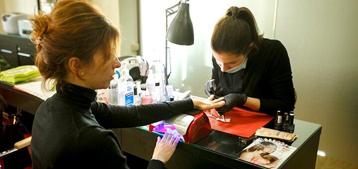 Маникюр или педикюр с покрытием гель-лаком в салоне красоты «Santa-Monica»