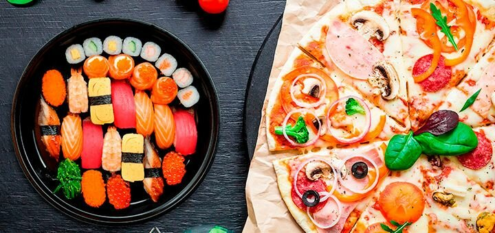 Скидка 50% на пиццу, роллы и напитки в сети ресторанов «Mister Cat»