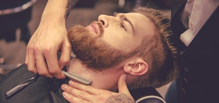 Мужская стрижка, укладка и коррекция бороды в барбершопе «ALC Barbershop»