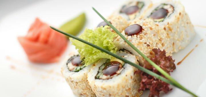 Скидка 50% на все меню кухни с самовывозом от суши-бара «Shark sushi-bar»