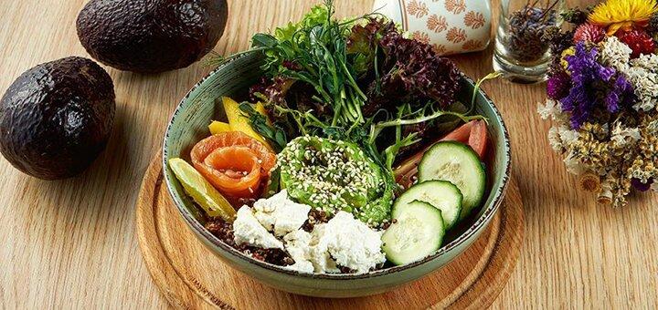 Скидка 40% на все меню кухни с доставкой и самовывозом в ресторане европейской кухни «Avocado»