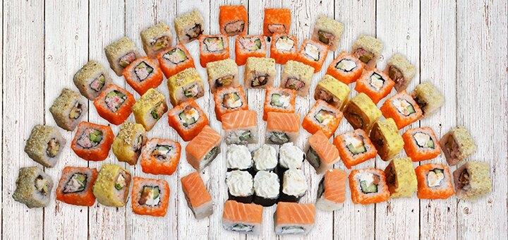 Скидка 50% на суши-сеты весом до 2 кг с доставкой или самовывозом от «Суши Wok» на Коммунаре