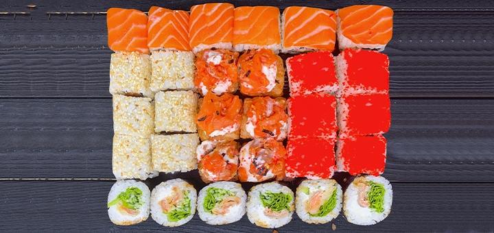 Скидка 51% на суши-бокс «Микс Лосось 1 кг» от сети магазинов «BuduSushi»
