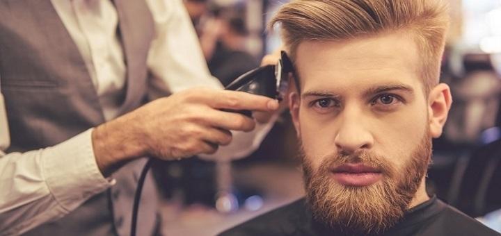 Мужская стрижка, укладка волос и стрижка с коррекцией бороды в барбершопе «Bench»