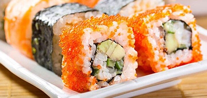 Скидка 50% на все меню кухни с доставкой и на вынос и 50% на суши при посадке в «Банзай»