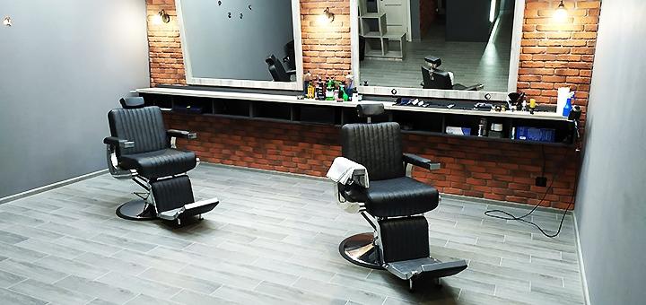 Мужская стрижка, укладка и коррекция бороды в барбершопе «Time Barbershop»