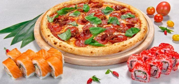 Скидка 40% на все меню пиццы, роллов, сетов, супов и WOK от службы доставки «Al Dente»