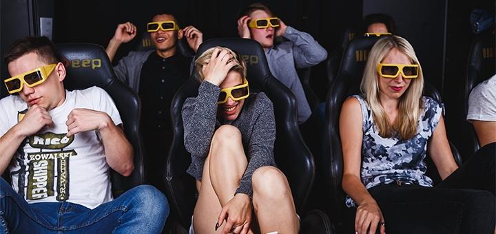 Скидка 50% на просмотр фильма на аттракционе «7D Кино» от «DTech»