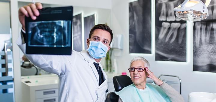 Панорамный рентгеновский снимок зубов и консультация стоматолога в «Денталия»